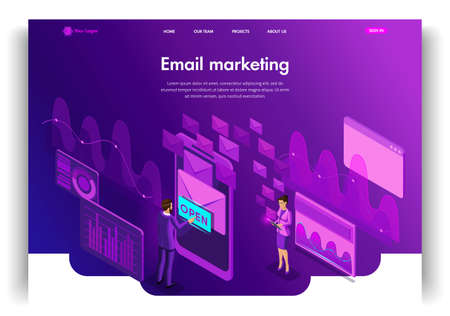 Website template design. Isometric concept Email Inbox Electronic Communication. E-mail marketing. Easy to edit and customize landing page.