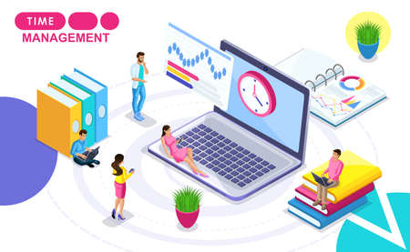 Isometric Concept of time management. Isometric people in motion, drawing up a work plan, hours. Concepts for web banners and printed materials. Illustration