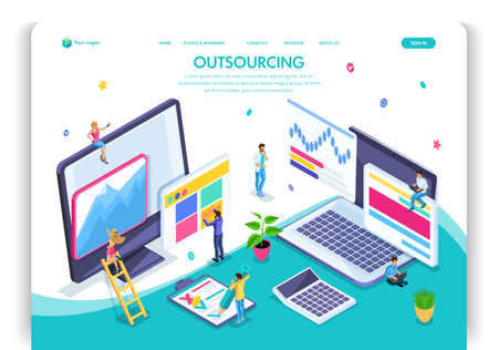 Website template design. Isometric concept Outsourcing. Hiring a remote employee, designer, programmer, copywriter. Easy to edit and customize landing page, ui ux.