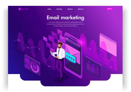 Website template design. Isometric concept Email Inbox Electronic Communication. E-mail marketing, marketing research. Easy to edit and customize landing page ui ux. Ilustração