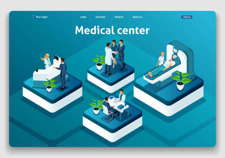 Template Website Isometric Landing page concept Medical Center.Doctor diagnosing patient in a hospital. Easy to edit and customize.