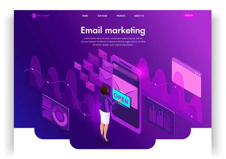 Website template design. Isometric concept Email E-mail marketing. Marketing research. Email Inbox Electronic Communication. Easy to edit and customize landing page.