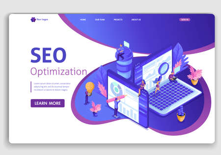 Template design SEO analytics landing page. Isometric Search engine optimization analysis concept. IT specialists working around web pages. Easy to edit and customize.