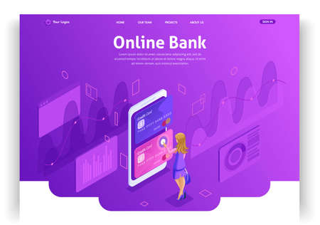 Website template design. Isometric concept working with bank accounts online. Online bank. Credit cards. Easy to edit and customize landing page.