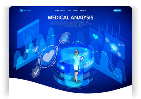 Website template design. Isometric concept medical analysis, doctors work on virtual screens. Web design landing page. Easy to edit and customize. 向量圖像