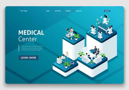 Template Website Landing page Isometric concept of hospital work, maternity ward, work with patients, doctors and surgeons.. Easy to edit and customize.