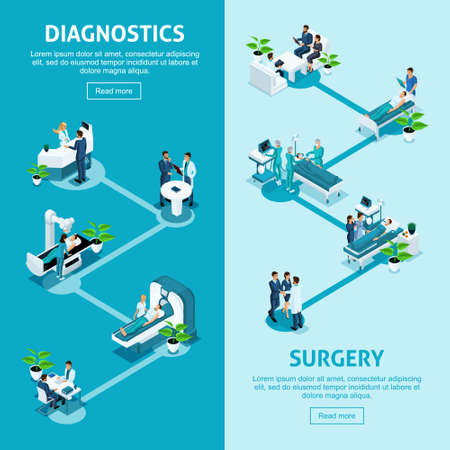 Isometrics concept of the work of a hospital, a medical institution, diagnosis of a patient and detection of a disease, diagnosis, surgery for treatment. Vector Illustratie