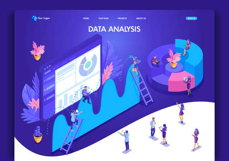 Website template design. Isometric concept for landing page. Data analysis concept with characters. Easy to edit and customize, ui ux.