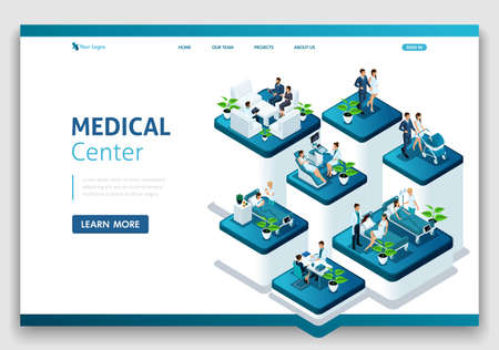 Website Template Landing page Isometric concept of hospital work, maternity ward, work with patients, doctors and surgeons.. Easy to edit and customize.