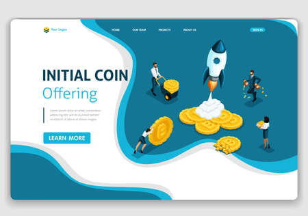 Template Website Isometric Landing page concept connected with crypto servers for Initial Coin Offering ICO. Easy to edit and customize.