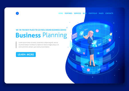 Business website template design. Isometric concept businessmen work, Augmented reality, time management, business planning. Easy to edit and customize, uiux.