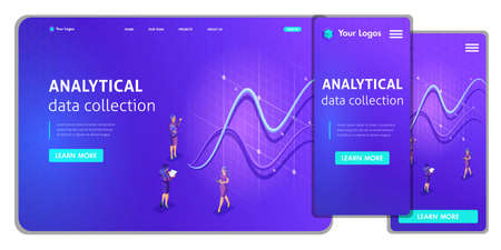 Landing page Isometric Concept business analysis, virtual technologies. Website template design. Easy to edit and customize ui ux