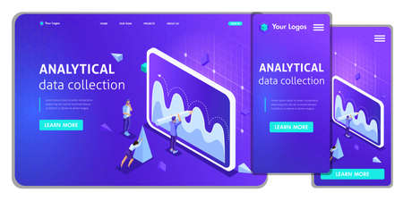 Website Template Landing page Isometric concept analytical data collection, Teamwork. Easy to edit and customize, adaptiive. Stock Photo
