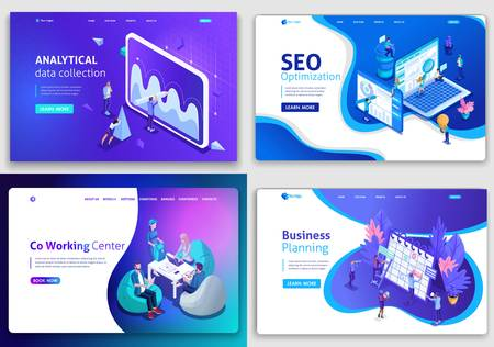 Set of web page design templates for business, analytical, SEO optimization, business planning, Co working.Center Vector illustration concepts for website and mobile.