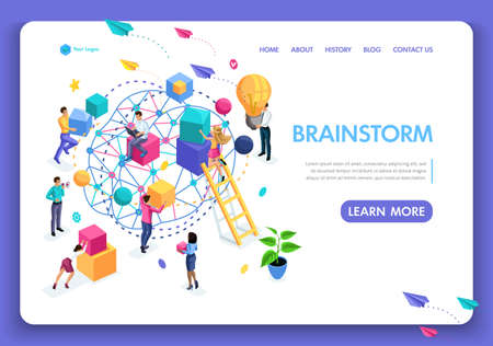Template Website Isometric Landing page concept application form for employment. People are working on an idea, brainstorming. Easy to edit and customize.