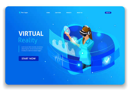 Template Website design. Isometric concept business woman work, Augmented reality, time management. Easy to edit and customize.
