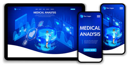 Website template design. Isometric concept medical analysis, doctors work on virtual screens. Web design landing page. Easy to edit and customize, adaptiive ui ux.