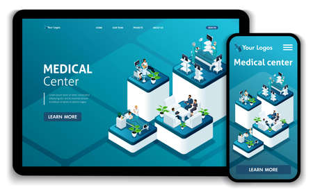 Template Website Isometric Landing page concept Medical Center.Doctor diagnosing patient in a hospital. Easy to edit and customize, Responsive. Banque d'images - 113545224
