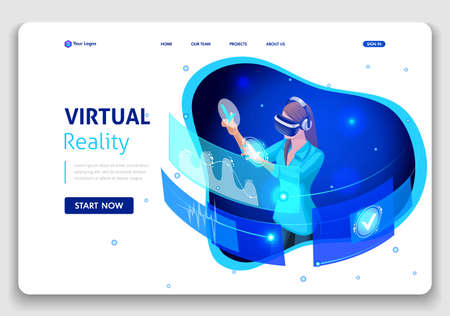 Template Website Business design. Isometric concept business woman work, Augmented reality, time management. Easy to edit and customize. Иллюстрация