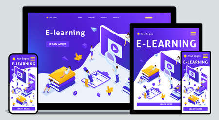 Website Template Landing page Isometric concept library, encyclopedia, e-learning, education, media library or web archive. Easy to edit and customize, adaptiive. Illustration