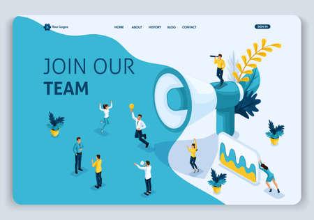 Szablon strony internetowej Landing page Koncepcja izometryczna dołącz do naszego zespołu, może korzystać z interfejsu użytkownika, ux web, aplikacji mobilnej, plakatu, banera. Łatwe do edycji i dostosowywania.