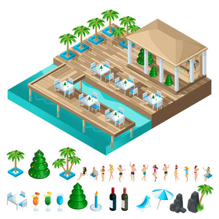 A set of isometric icons with dancing people, to create your own illustration of a holiday on a beautiful villa by the sea. Banque d'images - 113545300