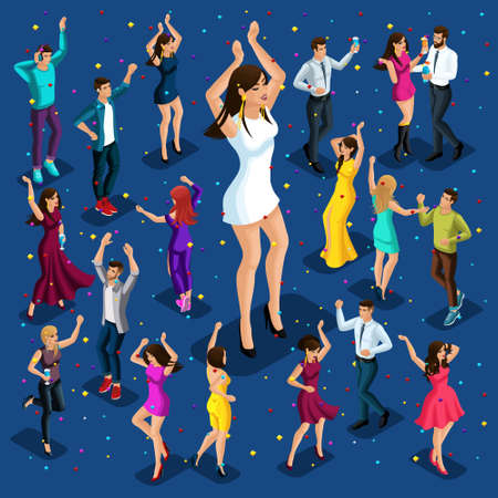 Isometric illustration of the holiday, men and women have fun at a party in a nightclub, celebrate and have fun, a big girl dances. Vectores