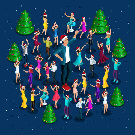 Isometrics people celebrate Christmas, party, dancing around the Christmas tree, a big man in dance, around a lot of dancing people, drinks, a nightclub.