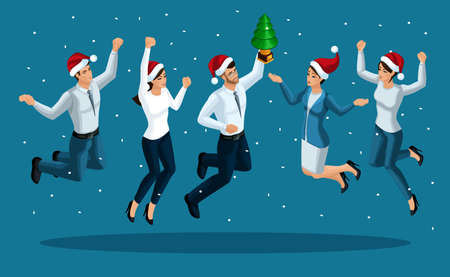 Isometry of a man and a woman jumping, happiness, Christmas spirit, celebration of the new year, businessman with a Christmas tree.