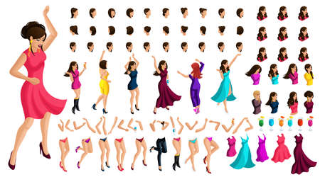 Isometry constructor dancing character, with a set of emotions, hairstyles, gestures of hands and feet. Create your own dancing and energetic girl beautiful dress. Ilustração