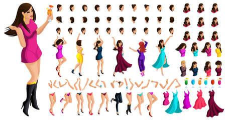 Isometry constructor, a character of a dancing girl, with a set of emotions, hairstyles, gestures of hands and feet. Create your character with a drink. Ilustração