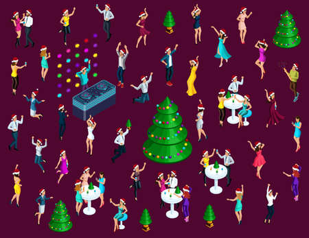Isometrics Celebrating Christmas, a lot of 3D men and women have fun dancing, jumping, celebrating people for colorful illustrations.