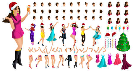 Isometric character constructor, a dancing girl for Christmas, with a set of emotions, hairstyles, gestures of hands and feet. Create your character with a drink.