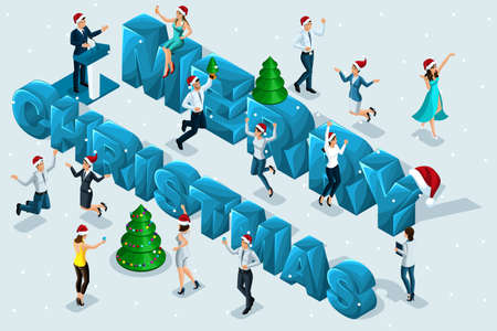 Isometric celebration, men and women have fun against the background of the big letters of a happy Christmas, corporate party, Christmas tree, snow, happiness, jump.