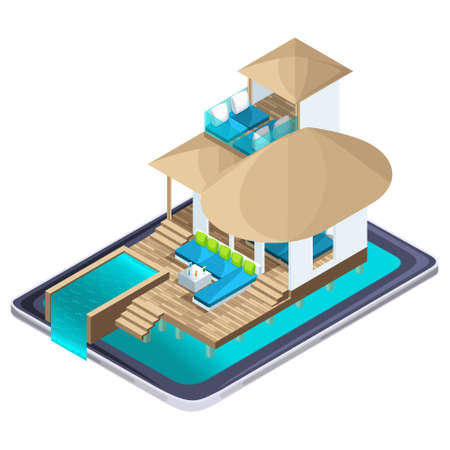 Isometric advertising of the resort on the Maldives smartphone, bright advertising travel concept, on-line search for luxury hotels.