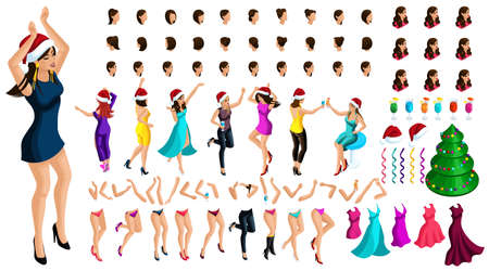 Isometric constructor of a dancing girl for Christmas illustrations, with a set of emotions, hairstyles, gestures of hands and feet. Create your character. Vectores
