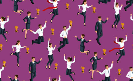 Isometry seamless background, 3d business lady and businessmen, jumping and rejoicing, fun receiving a prize, happiness. Illustration