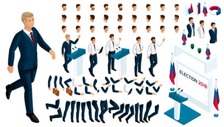 Isometric Constructor of the President with a set of gestures and emotions. Create your character in isometric. A large set of accessories for elections and voting. Ilustração