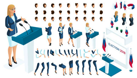 Create your isometric character. 3d woman, presidential candidate for the required, election, vote. The candidate is against everyone. A large set of emotions.