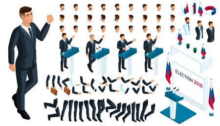 Create your isometric character. 3d man, Presidential Candidate debates, elections, voting. A large set of emotions, gestures for the president.