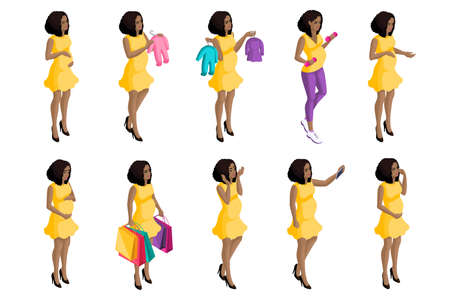 Quality Isometry, 3D pregnant African American girl, a large set of pregnant women for vector illustrations, preparing for the birth of a child. Stock Illustratie