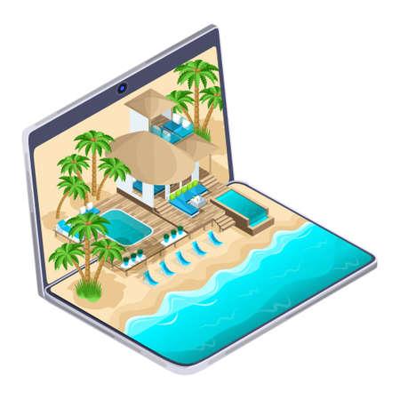 Publicité isométrique de la station balnéaire aux maldives sur un ordinateur portable, concept de voyage publicitaire lumineux, sélection et paiement en ligne d'un hôtel de luxe, pays chauds. Vecteurs