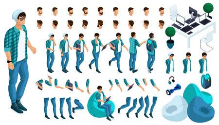 Constructor of the character of the young man. Create your character in isometric. A large set of emotions and gestures. Ilustração
