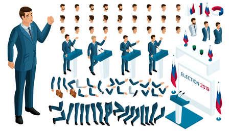 Créez votre personnage isométrique. homme 3d, candidat présidentiel, élections, vote. Un large éventail d'émotions, de gestes pour le président.