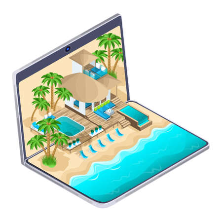 Isometric advertisement of the resort on the maldives on a laptop, a bright advertising travel concept, on-line selection and payment of a luxurious hotel, warm countries.