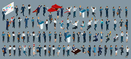 Isometry is a large set of businessmen and business ladies. 3d lawyers, economists, presidents, bank employees and entrepreneurs with different gestures and emotions.