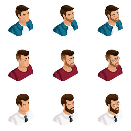 Quality Isometry, a set of 3D avatars of young men, different images, with emotions, with a beard and glasses, emphasize your individuality.