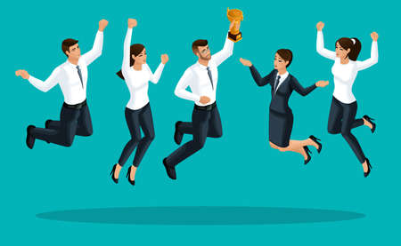 Kwaliteit Isometrie, 3D-zakelijke dames en zakenlieden zijn blij en springen, de prijs wordt ontvangen door het verenigde team is blij, een succesvolle startup.