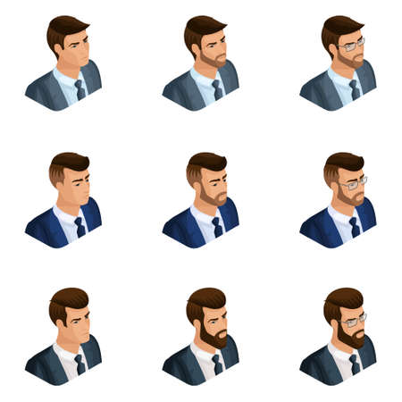 Quality Isometry, a set of 3d avatar business men of different images, with emotions, with a beard and glasses, emphasize your individuality.