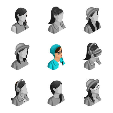 Quality Isometry, 3D active girl informal, set avatars, sets of non active different avatars for social networks.